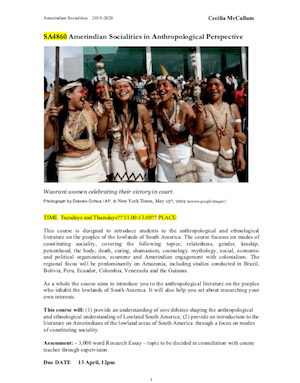 McCallum Amerindian Socialities in Anthropological Perspective