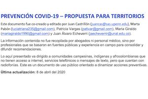 Prevencion COVID-19 propuesta para territorios