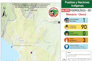 Síntomas coincidentes con coronavirus afectan indígenas embera dobida del Chocó, Colombia (4-16-20)