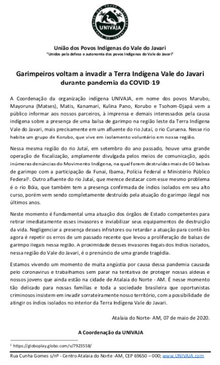 Garimpeiros voltam a invadir a Terra Indígena Vale do Javari durante pandemia da COVID-19 (5-7-20)