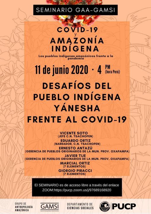 """Seminario del GAA-GAMSI """"Desafíos del pueblo indígena Yánesha frente al Covid-19"""" (6-11-20)"""
