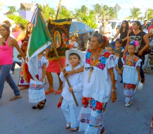 Guadalupe Parade in Puerto Morelos