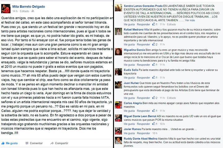 (Izquierda) Publicación hecha por 'Mita' a través de su cuenta de Facebook. (Derecha) Muestras de solidaridad por parte de sus seguidores y colegas.