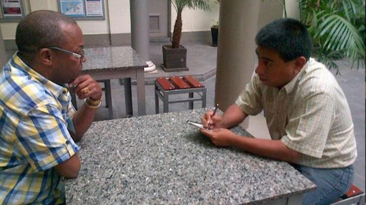 Adalberto Álvarez y Martín Gómez en las instalaciones del diario El Comercio de Perú. (Foto: Hernán Zelaya)