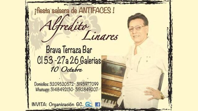 Alfredito Linares en el afiche de la denominada 'Fiesta Salsera de Antifaces' a realizarse este sábado 10 de octubre. (Foto: Facebook/BravaTerrazaBar)