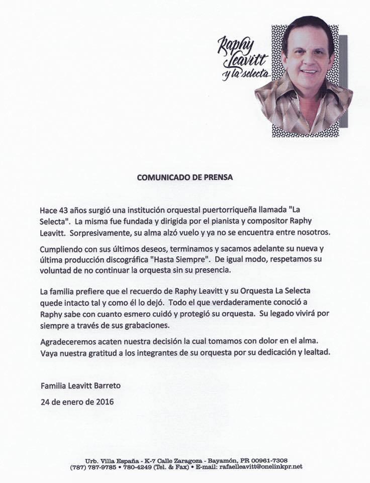 Comunicado de prensa de la falia Leavitt Barreto. (Imagen/Facebook)