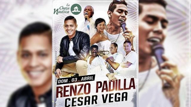 Afiche promocional lanzado por la Choza Náutica sobre el concierto del 3 de abril. (Foto: Facebook/ChozaNáutica)