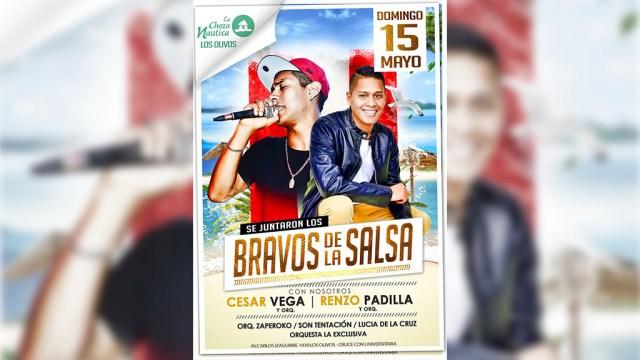 Afiche promocional del show en el que estarán César vega y Renzo Padilla. (Imagen: Facebook/ChozaNáutica)