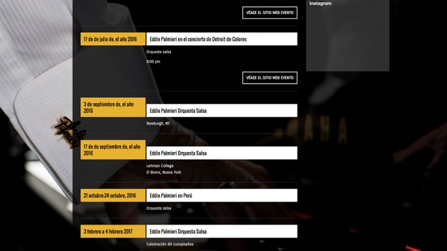 La página oficial de Eddie Palmieri confirma las fechas en Perú. (Captura: http://palmierimusic.com)