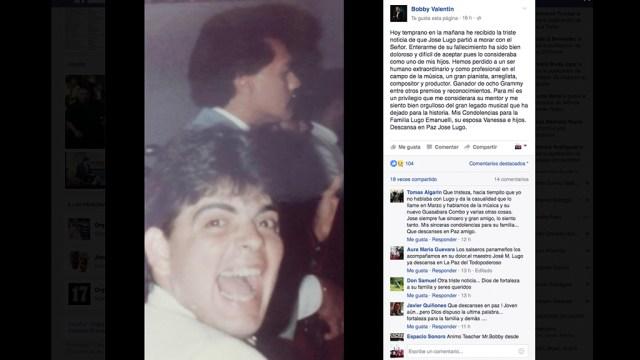 Captura de pantalla de la publicación hecha por bobby Valentín al enterarse de la muerte de José Lugo. (Foto: Facebook/Bobby Valentín)
