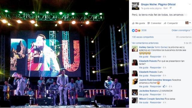 El Grupo Niche tiene una de las mejores estrategias en redes sociales en lo que se refiere a salsa. (Captura: Facebook/GrupoNiche)