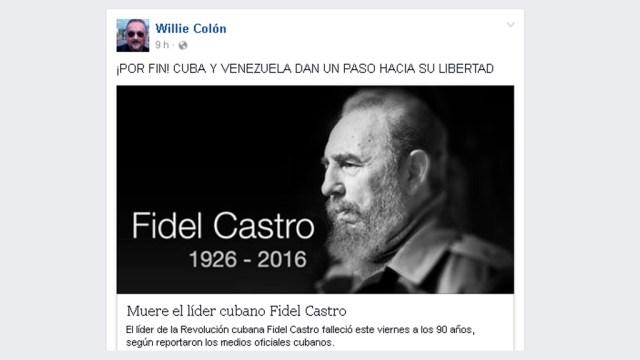 Willie Colón es uno de los personajes dentro de la salsa que estuvo en contra del régimen del líder cubano. (Captura: Facebook/WillieColón)