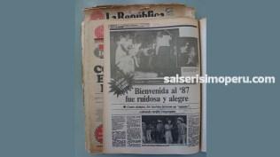 El año 1987 fue recibido a todo dar. Así lo remarca el diario La República en su edición del 02 de enero. (Foto: Antonio Alvarez F./Salserísimo Perú)