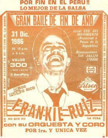Afiche oficial del concierto en La Esquina del Movimiento. Fue impreso en un taller ubicado en el cruce de en Jirón Cayoma con Conde de Superunda a unas cuadras de la avenida Tacna.