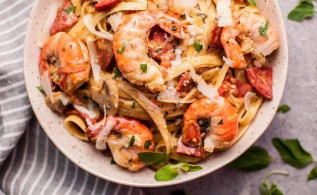Creamy Shrimp And Chorizo Pasta With Mushrooms Salt