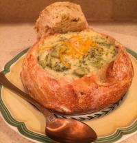 Broccoli Cheddar Soup in Bread Bowls