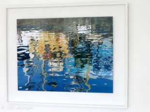 """Quayside reflections"" float mounted and framed in white tulipwood"