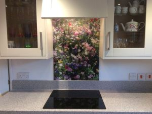splashback featuring abstract wildflower meadow image