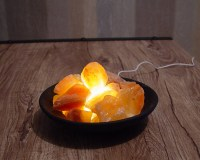 Rock Salt Lamp Himalayan Clay Bowl Basket USB Led Light ...