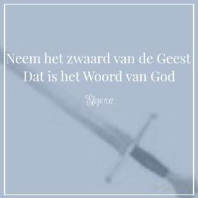 wapendrager, zwaard van de Geest, de geestelijke wapenrusting van God