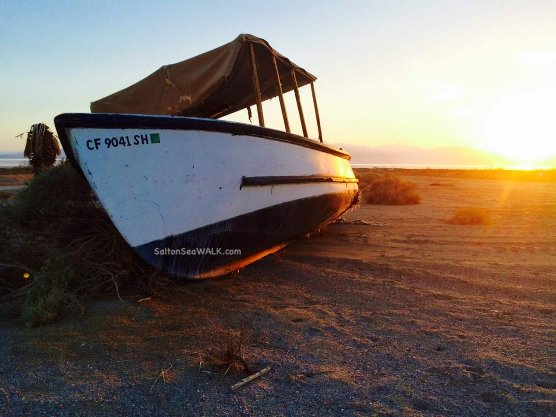 Old abandoned boat near Corvina Estates at Salton Sea