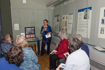 An enthusiastic audience for Caroline as she shares a Bite- Size talk at Brighton Museum in June 2016. Photo Credit: Nina Emett