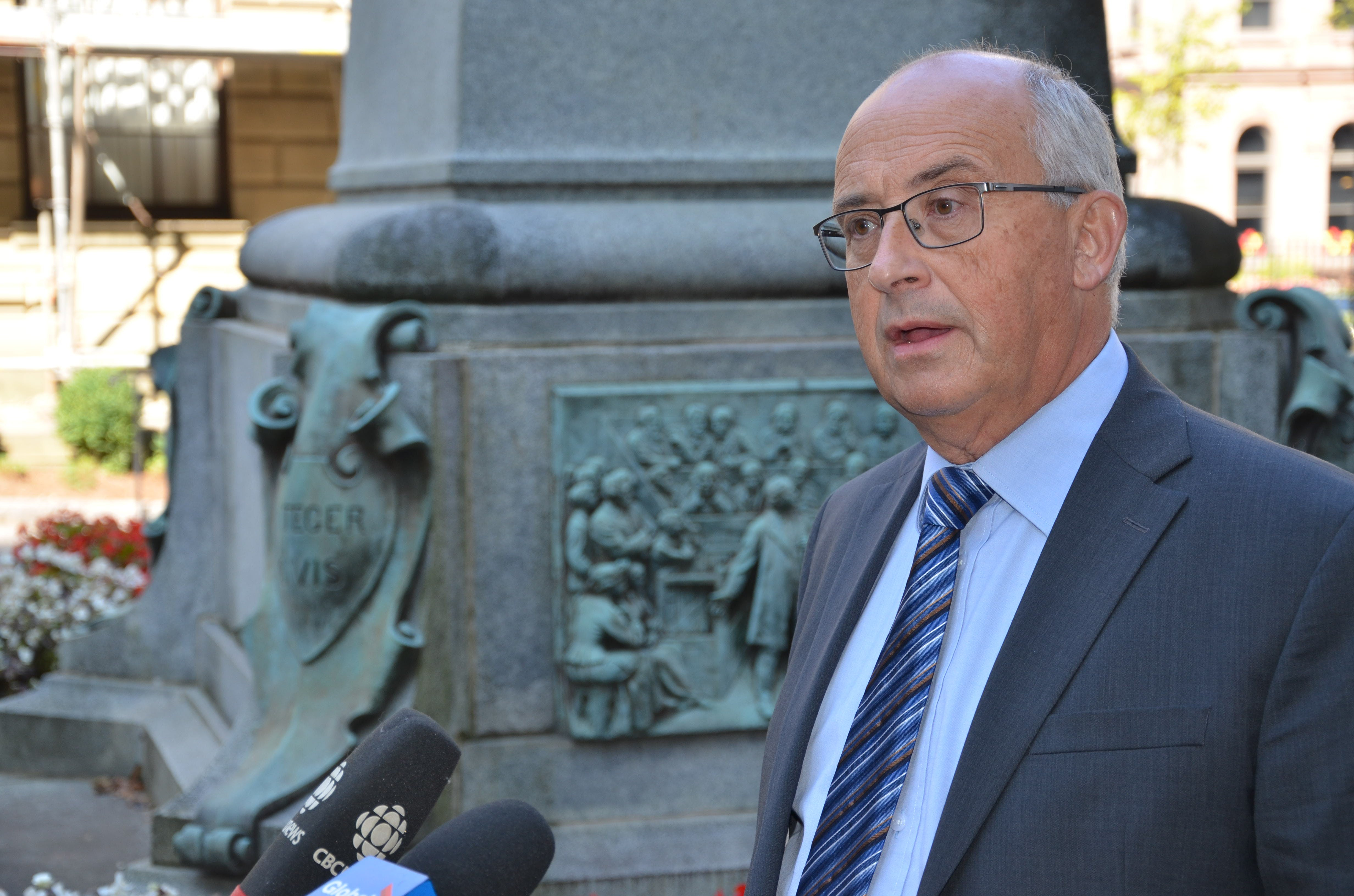 Gary Burrill, leader of the New Democratic Party, speaks to media outside Province House in Halifax last week. - Francis Campbell