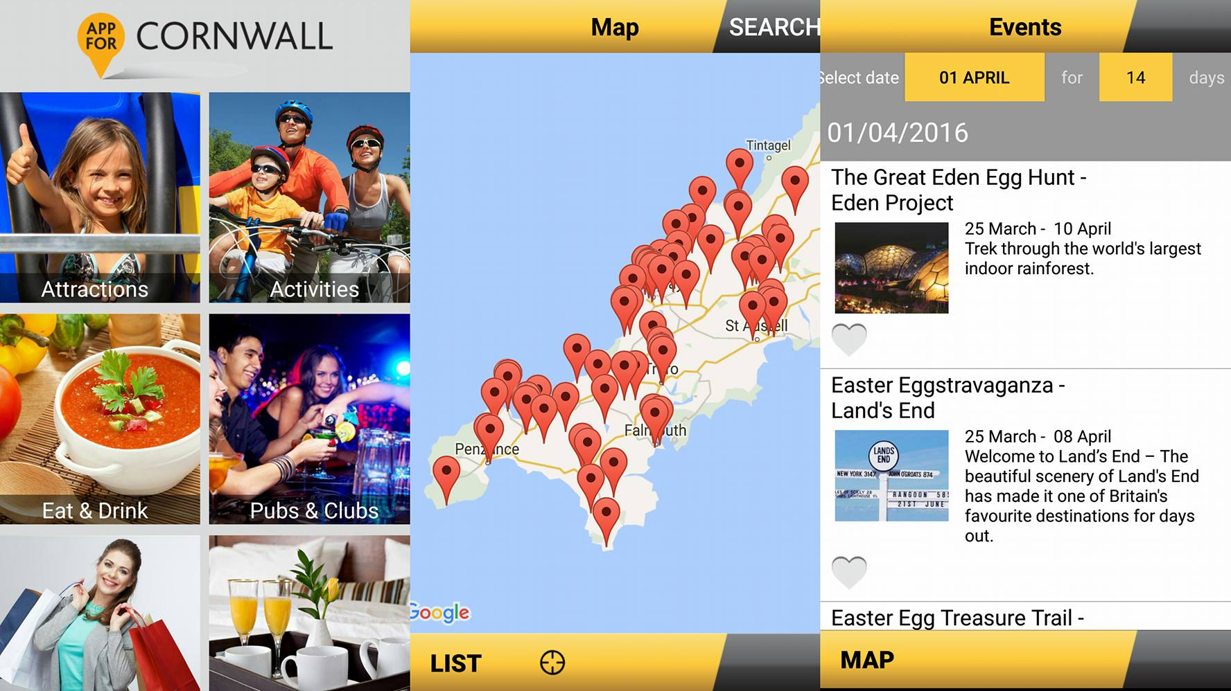 Visuals for App for Cornwall