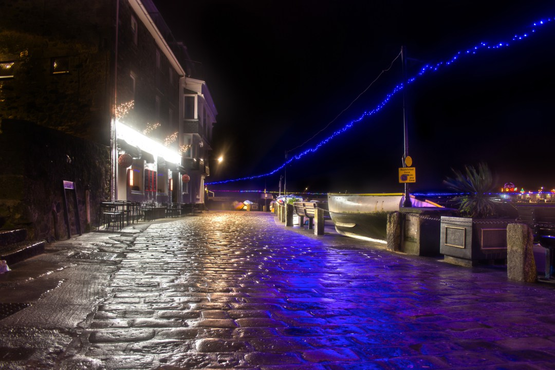 st ives in december christmas lights in cornwall