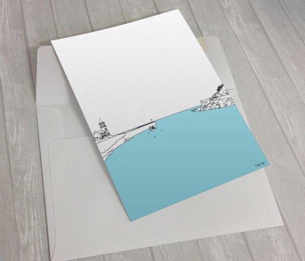 Porthleven-Harbour-Entrance-Greeting Card
