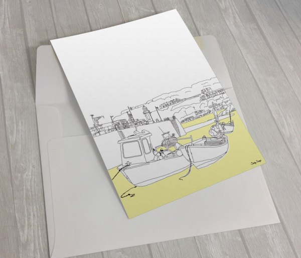St-Ives-harbour-Low-tide-greeting card