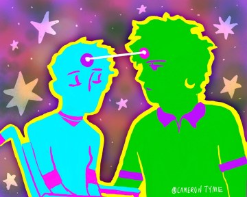 illustration of two people with a celestial ray connecting their heads