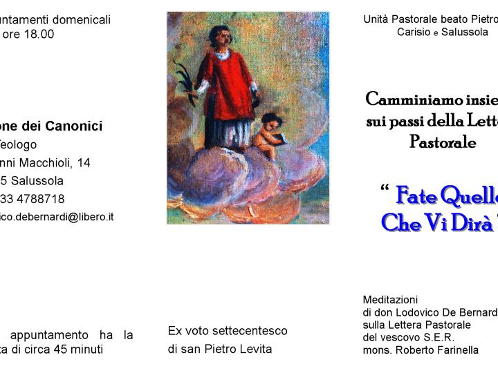 Dal pomeriggio, in parrocchia, una serie di appuntamenti meditazionali sulla Lettera Pastorale del vescovo Farinella