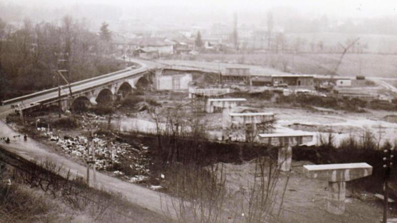 Vecchia Salussola: Il nuovo ponte sull'Elvo in costruzione tra il 1972/73