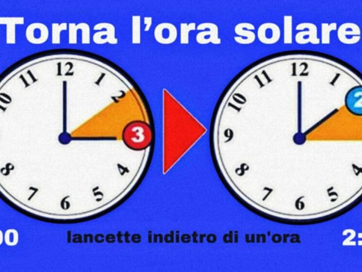 Stanotte ritorna l'ora solare in vigore fino a marzo