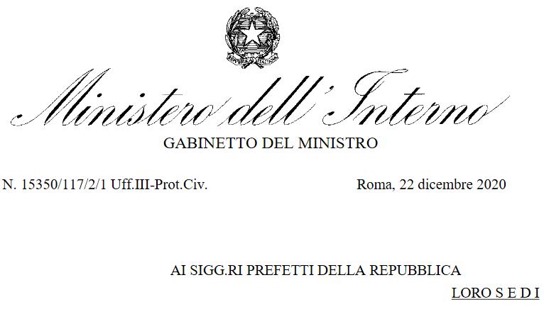Covid-19: Il Ministero dell'Interno dispone controlli sugli spostamenti dal 24 dicembre al 6 gennaio 2021