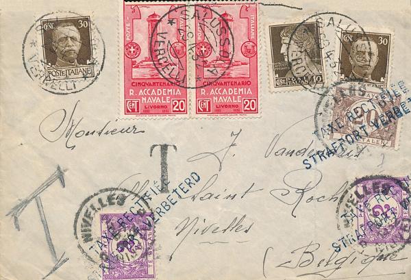 Curiosità Storiche: Lettera timbrata Salussola 1932 con destinazione il Belgio