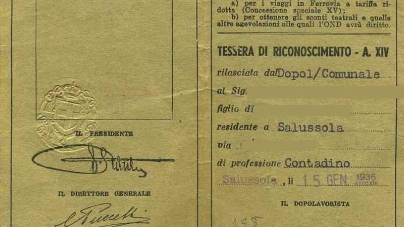 Curiosità Storiche: Tessera 1936 dell'Opera Nazionale Dopolavoro di un contadino Salussolese