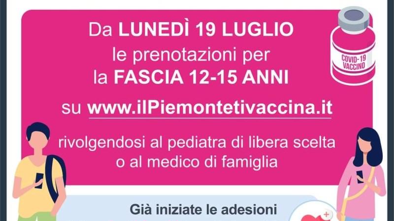 Prenotazione per la vaccinazione dei 12 – 15 enni