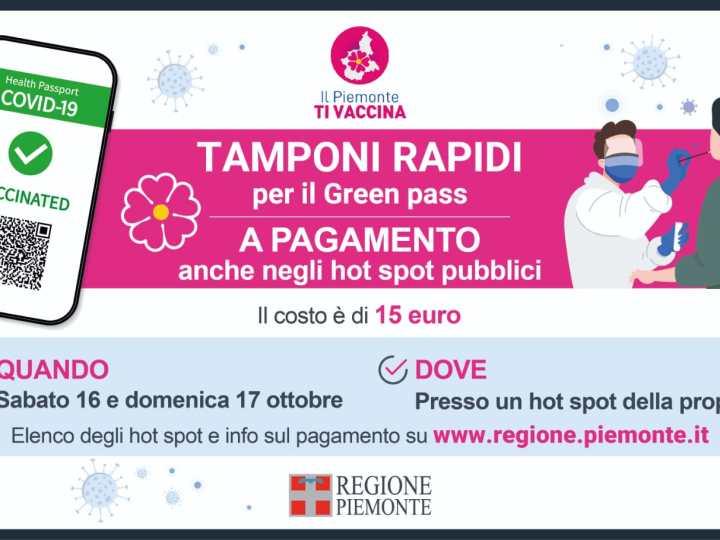Oggi e domani in Via don Sturzo a Biella tampone festivo a 15 euro