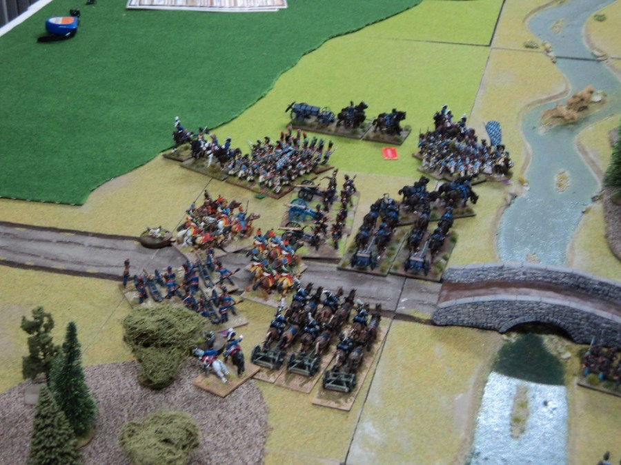 Austrian Hussars successfully charge both batteries of Bavarian guns and their crews evade.