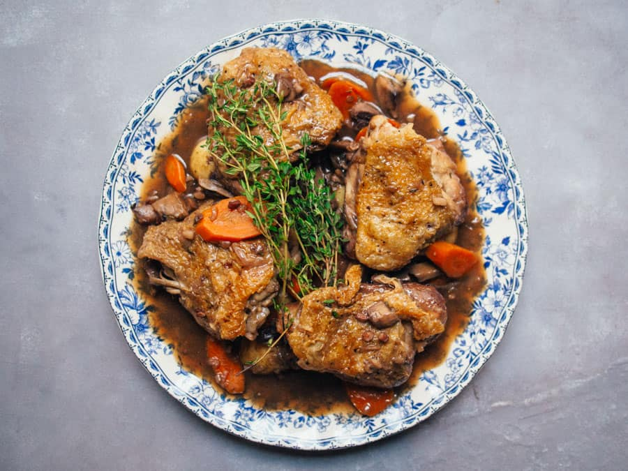 a coq au vin should be on your list if you search traditional french food in Paris