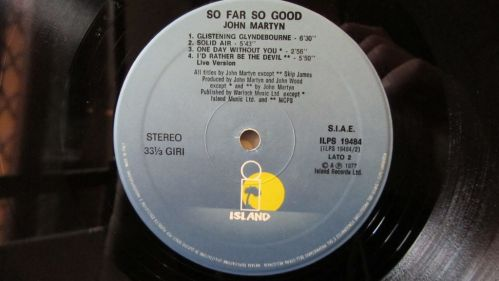 John Martyn So Far So Good Etichetta Lato 1
