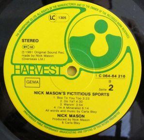 Mick Mason's Fictitious Sports B Side