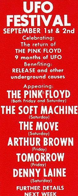 Festival UFO sept 1967 pink floyd soft machine, the move arthur brown tomorrow denny laine
