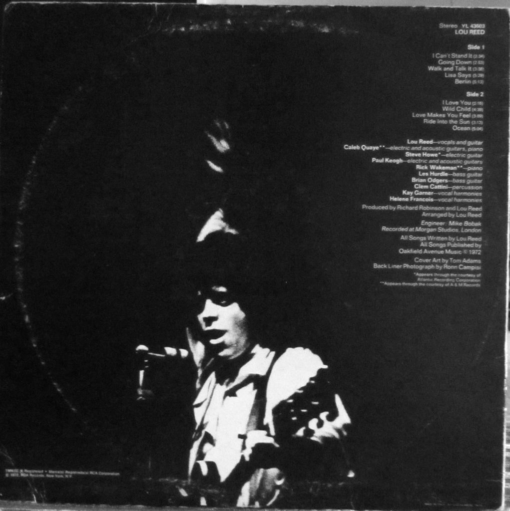 vinile di Lou Reed, copertina, caratula, LP, Vinyl