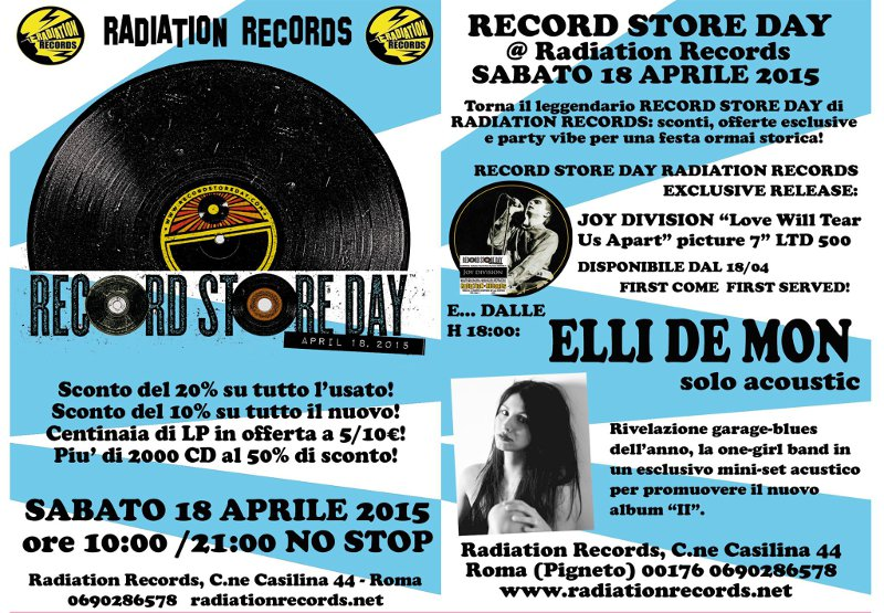 rADIATION rECORD sTORE dAY eventi Roma