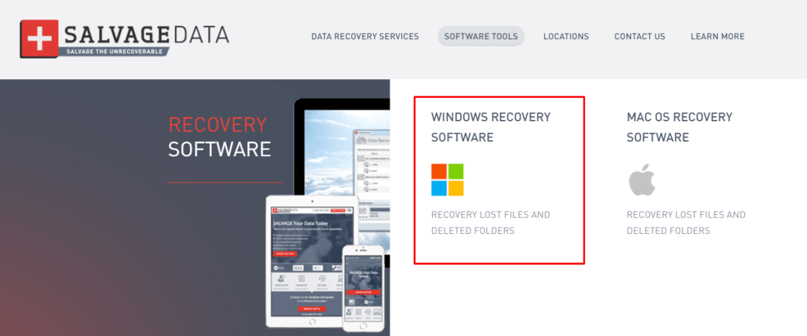 How to locate SALVAGEDATA windows recovery software