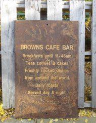 Browns Café Bar Large debossed Iron Advertising Sign