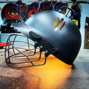 Lamp made from real cricket helmet